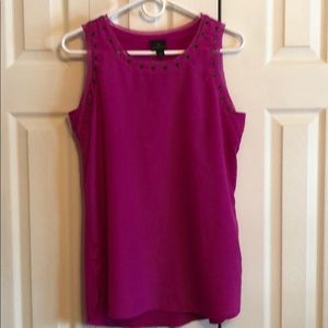Worthington sleeveless blouse-Fuscia with grommets